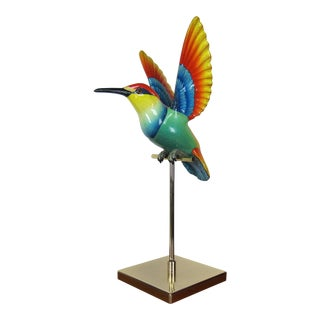 1970s Contemporary Sergio Bustamante Hummingbird Sculpture on Brass Stand For Sale