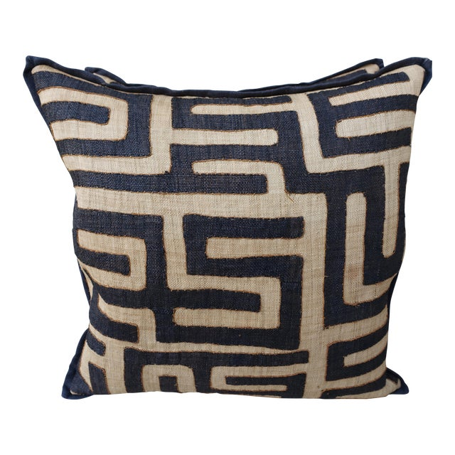 Large Square Black and Tan African Kuba Cloth Pillows - Pair For Sale