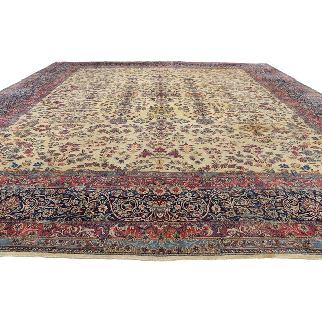 Regency Antique Persian Kerman Palace Size Rug - 12′10″ × 15′2″ For Sale - Image 3 of 10