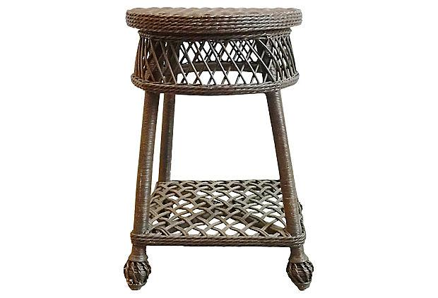 Vintage Round Nantucket Style Wicker End Table For Sale   Image 5 Of 5