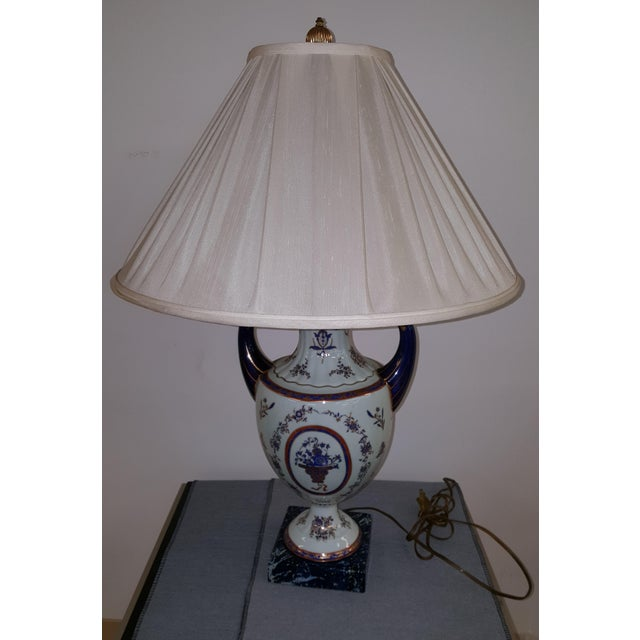 2010s Winterthur Porcelain Blue and White China Table Lamp For Sale - Image 5 of 8