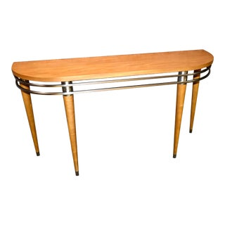 Ethan Allen Transitional Style Wood & Metal Console Table For Sale