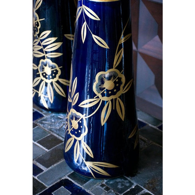 Art Nouveau Cobalt Blue and Gold Vases by Gustave Asch, Pair For Sale - Image 4 of 8