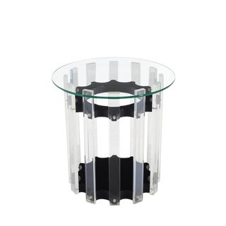 Lucite Base Round Side Table For Sale