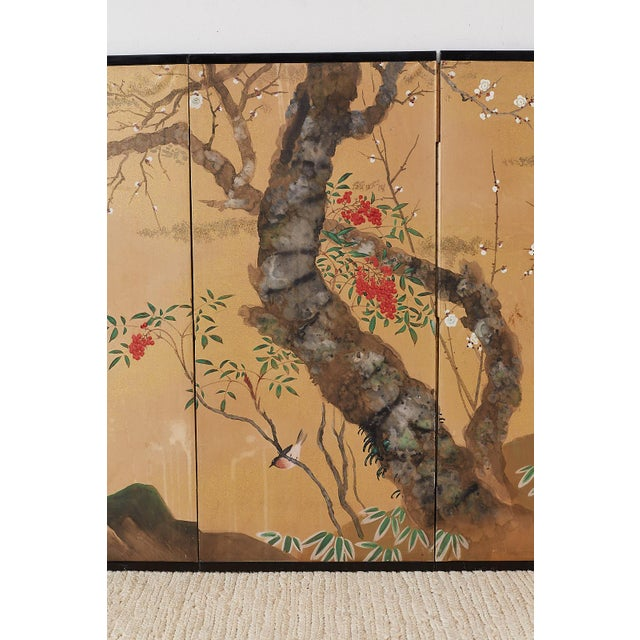 Japanese Four-Panel Screen Prunus Tree With Nandina For Sale - Image 4 of 13