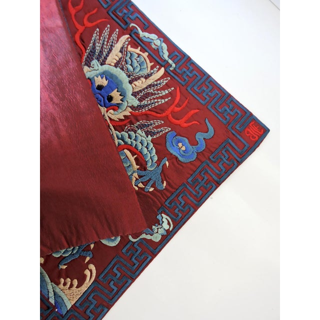 Chinese Embroidered 'Blue Dragon' Table/Lamp Mat For Sale - Image 4 of 5