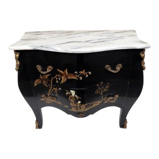20th Century Chinoiserie Marble Top Petite Commode For Sale