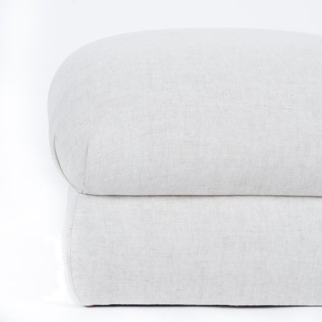 Not Yet Made - Made To Order Casa Cosima Milan Ottoman in Oatmeal Linen, a Pair For Sale - Image 5 of 7