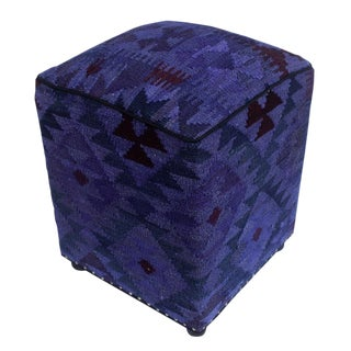 Arshs Demarcus Purple/Drk. Gray Kilim Upholstered Handmade Ottoman For Sale