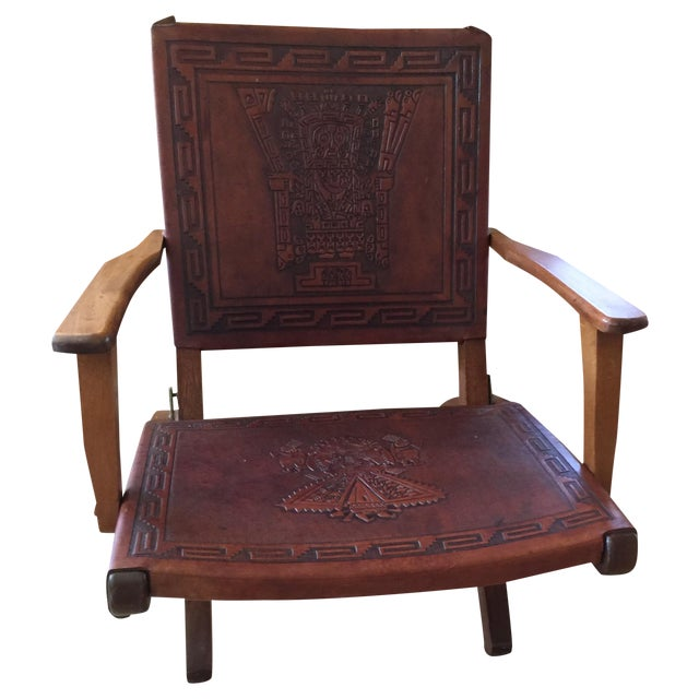 Rare Mid Century Folding Hand Tooled Leather Chair - Image 1 of 5