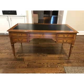1980s Carved Wooden Desk With Leather Top For Sale