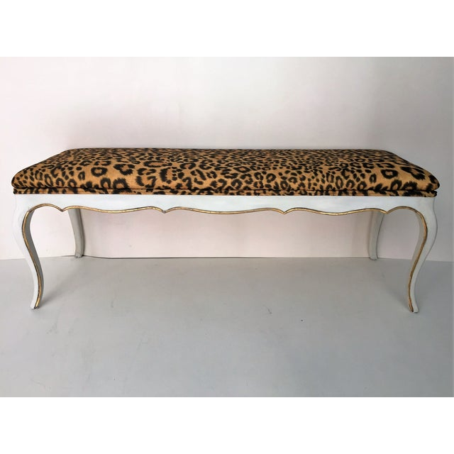 Leopard Hollywood Regency Style Bench - Image 2 of 4
