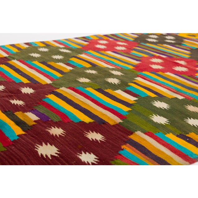 Multi-Color Striped Cotton Indian Dhurrie Rug For Sale - Image 4 of 8