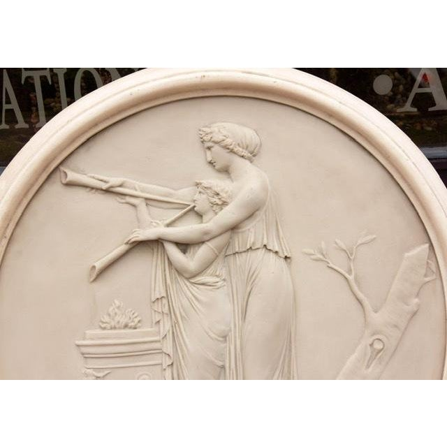 Classical Greek roundel wall sculpture. Faux marble. Quality cast resin, mid-20th century.