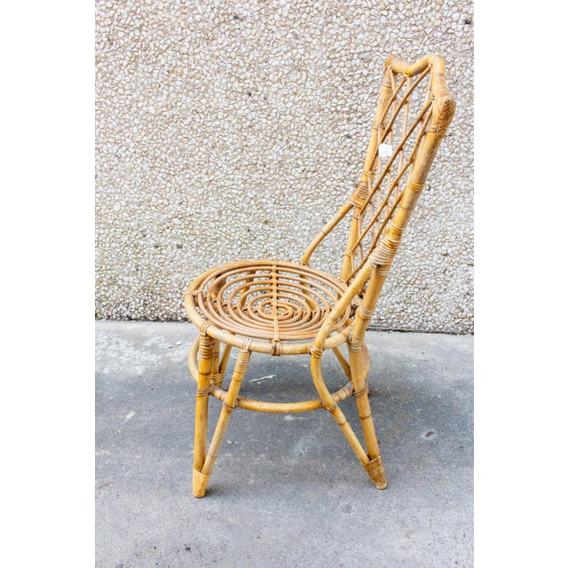 French Vintage French Bamboo and Rattan Dining Chairs- Set of 8 For Sale - Image 3 of 13