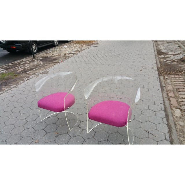 1970's Mid-Century Flexuous Lucite Chairs - A Pair - Image 2 of 9