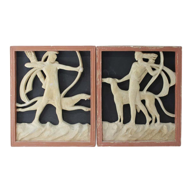 Art Deco 1920s Wall Plaques - a Set of 2 For Sale