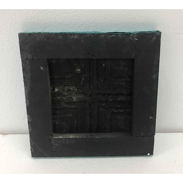 Traditional Antique Teal Squares Tin Panel For Sale - Image 3 of 4