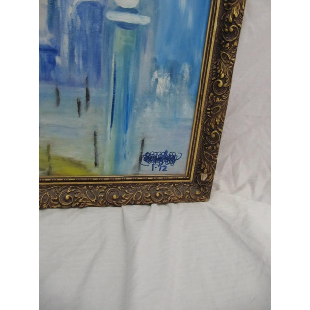 Metal Framed Vintage Painting of Venice For Sale - Image 7 of 8