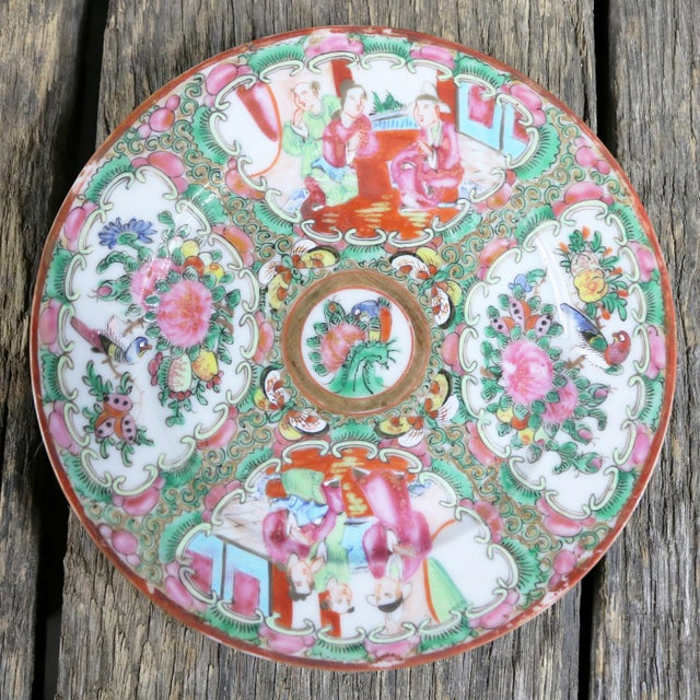 Antique Chinese Qing Rose Medallion Porcelain 6 Inch Plates Set of 4 For Sale - Image 11 of 13