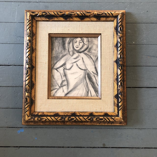1950s Original Vintage Charcoal Female Nude Study Matisse Style For Sale - Image 5 of 5
