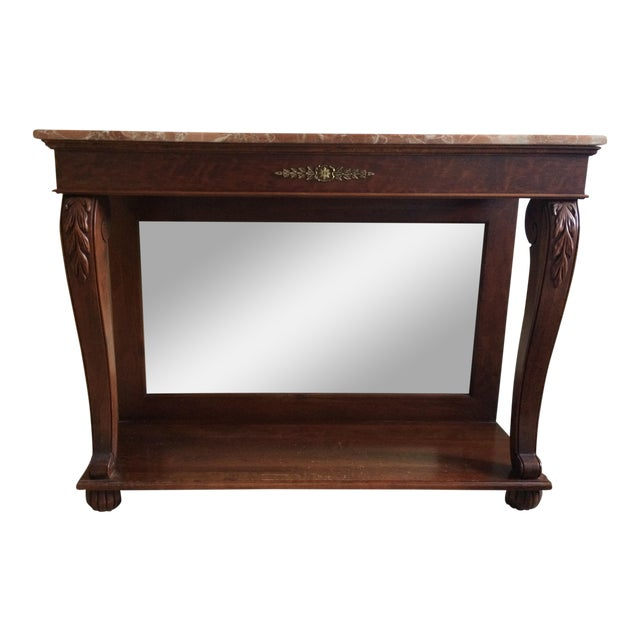 Ethan Allen Marble Top & Mirrored Console Table - Image 1 of 7