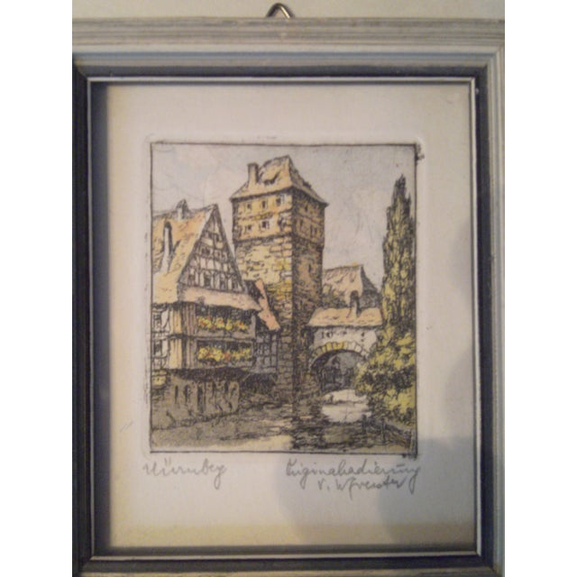 Vintage Small German Colored Etchings - Set of 4 - Image 7 of 10