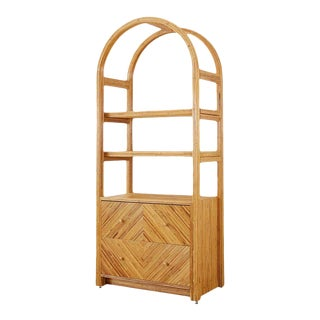 Gabriella Crespi Style Italian Rattan Étagère Display Bookcase For Sale