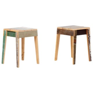 Pair of Oak Stools Made of Scrapwood by Piet Hein Eek For Sale
