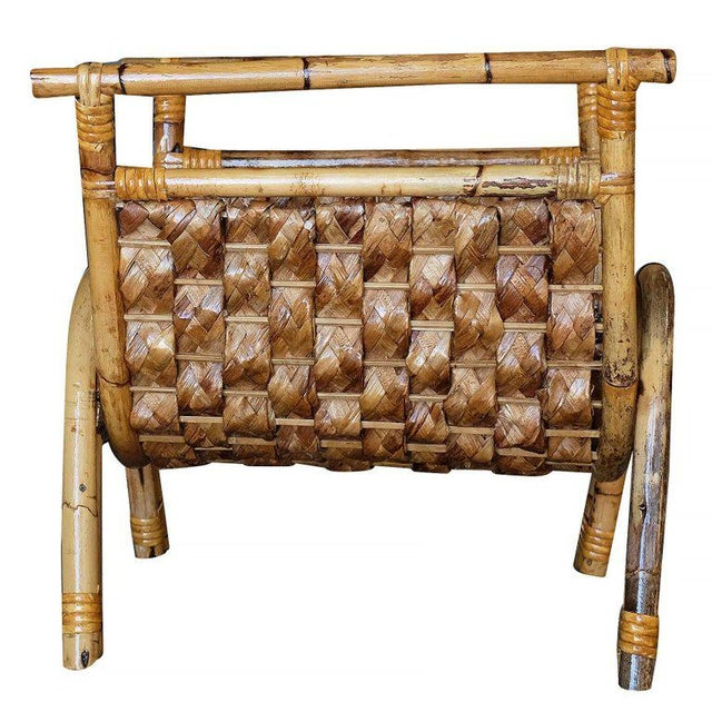 1950s Restored Woven Wicker & Rattan Magazine Rack For Sale - Image 5 of 6