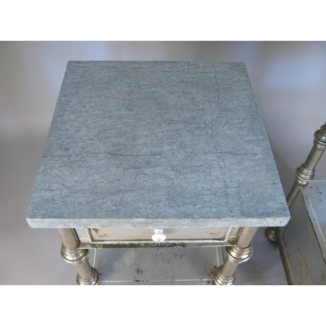 Silver 19th Century Painted Steel Nightstands - a Pair For Sale - Image 8 of 9