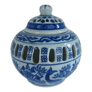 Blue & White Chinoiserie Jar For Sale