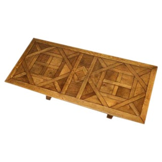 French Style Parquet Trestle Dining Table For Sale