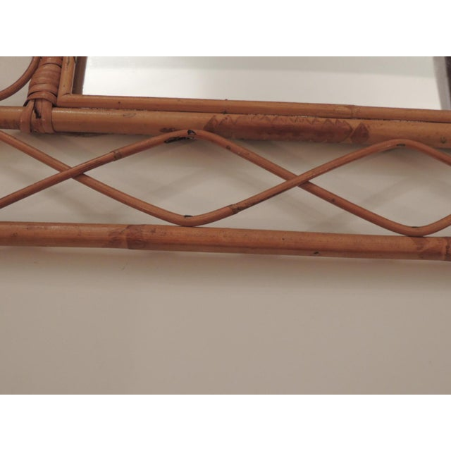1980s Vintage Bamboo and Rattan Wall Mirror For Sale - Image 5 of 6