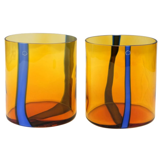 V. Nason & C., Italy Amber and Blue Murano Glass Vase Set For Sale In Miami - Image 6 of 6