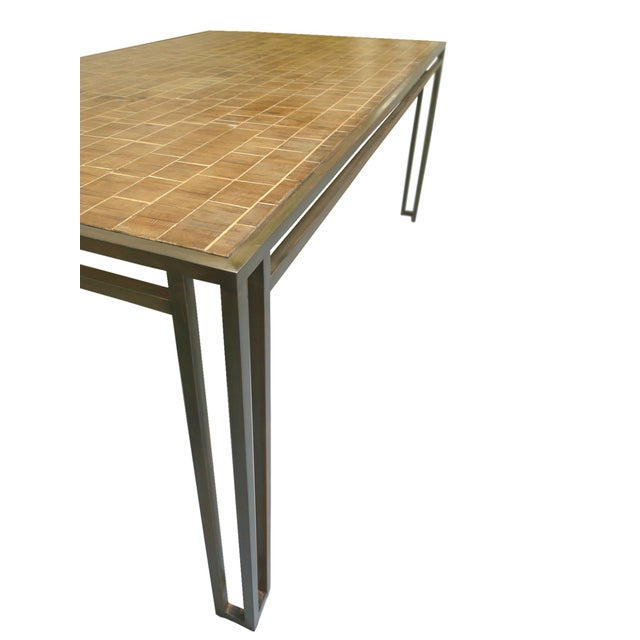 Art Deco Billy Baldwin 1970s Iron & Wood Dining Table For Sale - Image 3 of 5