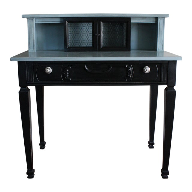 0d9ae4ce5 Vintage Black & French Blue Custom Painted Accent Desk,