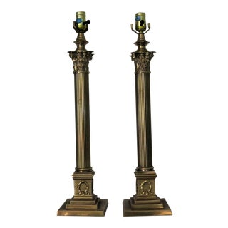 Frederick Cooper Roman Column Lamps - A Pair For Sale