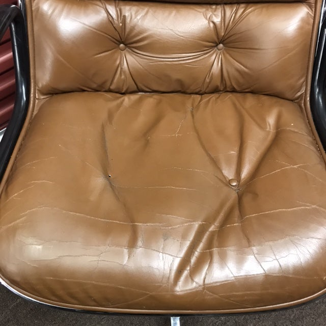 Charles Pollock for Knoll Brown Leather Office Chairs - a Pair - Image 7 of 7