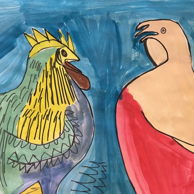"""""""The Leghorns"""" Watercolor and Marker Painting - Image 2 of 3"""