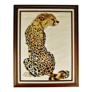 Vintage Framed Hand Crafted Cheetah Needlepoint Art