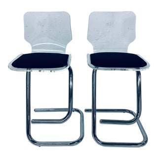 1970s Vintage Luigi Bardini Lucite and Chrome Bar Stools for Hill Mfg - a Pair For Sale