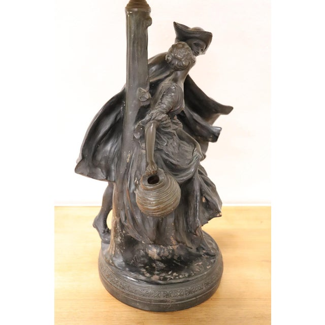Brown 20th Century Art Nouveau Table Lamp With Sculpture in Clay, Couple in Love 1920s For Sale - Image 8 of 11