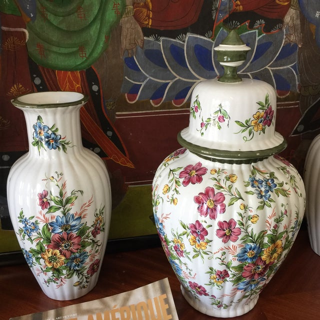 Traditional Floral Dutch Collection of Ceramic Vases - Set of 3 For Sale - Image 3 of 6