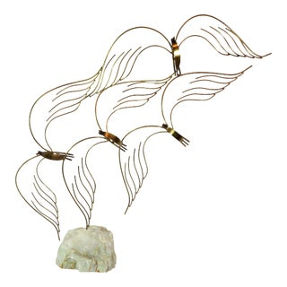 Curtis Jere Birds in Flight Welded Brass Table Sculpture For Sale