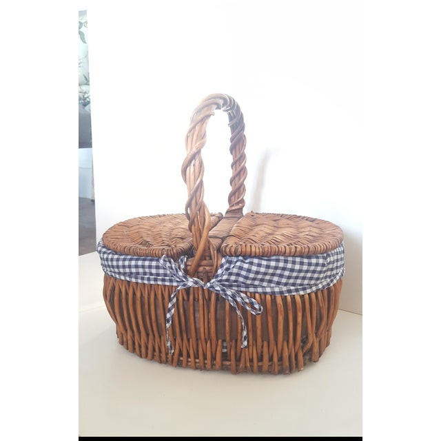 Wicker Large Blue and White Checked Picnic Basket For Sale - Image 7 of 7
