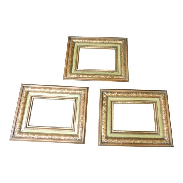 Set of (3) Vintage Green Painted Wood Art Frames For Sale