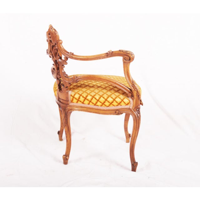 Walnut Carved Louis XV walnut corner chair, France, 1870 For Sale - Image 7 of 11