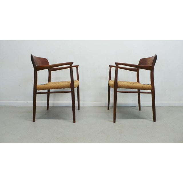1960s Mid Century j.l. Moller Danish Modern Teak Framed Rope Seat #56 Arm Dining Chairs by j.l. Moller For Sale - Image 5 of 11