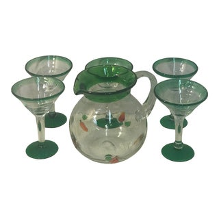 Green Rim Carrot Martini Pitcher and Glass Set - 6 Pieces For Sale